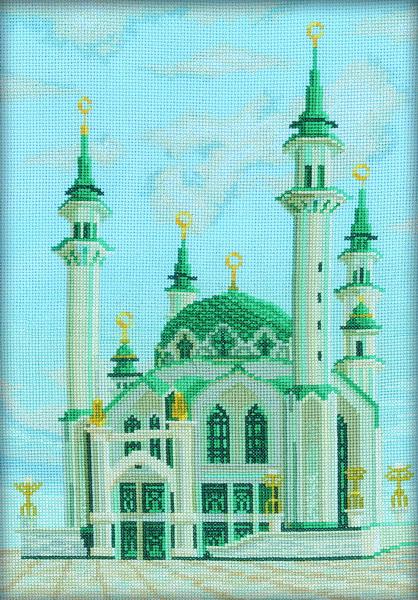 Набор для вышивания RTO Мечеть Кул-Шариф в Казани, 24 см х 34,5 см. M112M112Мулине на карте, разобранное по цветам, канва, символьная схема, игла, инструкция