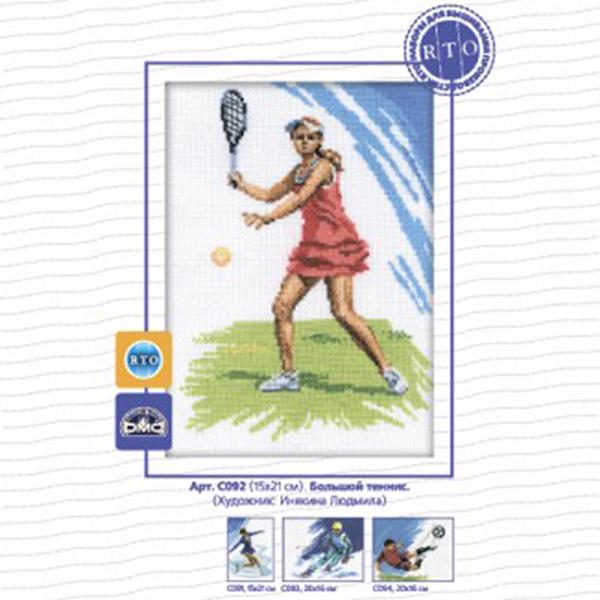 Набор для вышивания RTO Большой теннис, 15 см х 21 см. C092C092Мулине на карте, разобранное по цветам, канва, символьная схема, игла, инструкция