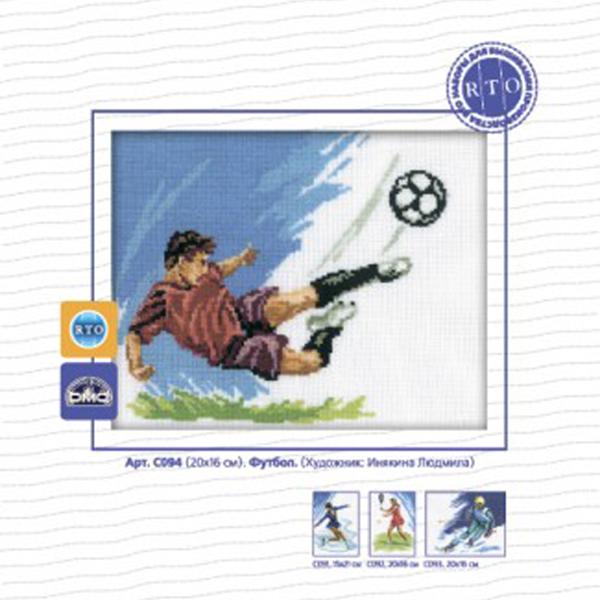 Набор для вышивания RTO Футбол, 20 см х 16 см. C094C094Мулине на карте, разобранное по цветам, канва, символьная схема, игла, инструкция