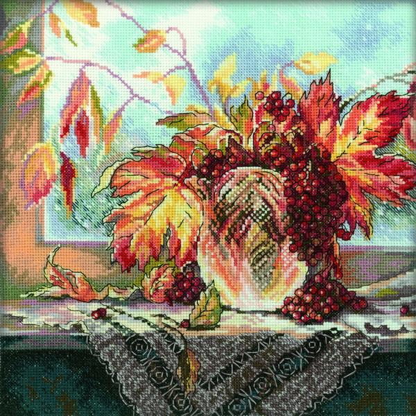 Набор для вышивания RTO Алые ягоды рябины, 27 см х 27 см. M185M185Мулине на карте, разобранное по цветам, канва, символьная схема, игла, инструкция