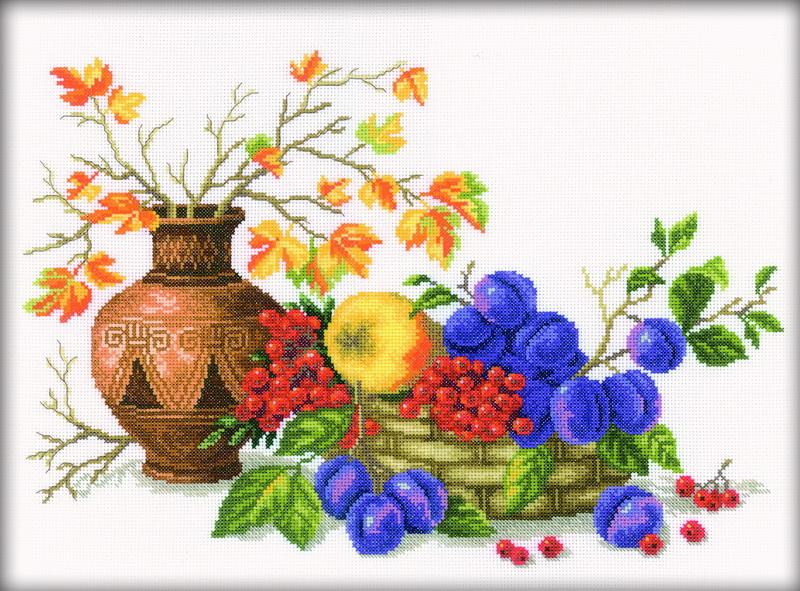 Набор для вышивания RTO Чаша со сливой, 42 см х 31 см. M188M188Мулине на карте, разобранное по цветам, канва, символьная схема, игла, инструкция