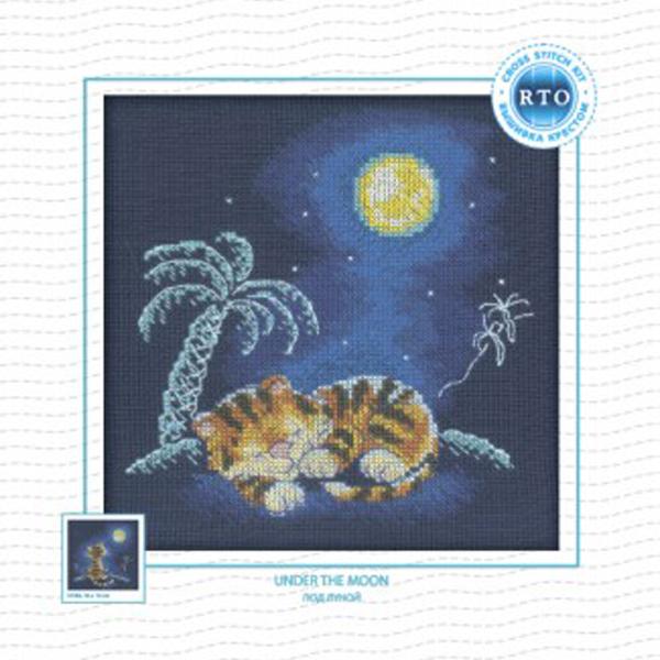 Набор для вышивания RTO Под луной, 16 см х 16 см. C103C103Мулине на карте, разобранное по цветам, канва, символьная схема, игла, инструкция