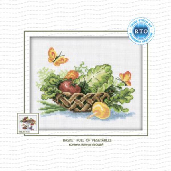 Набор для вышивания RTO Корзина полная овощей, 18 см х 15 см. C104C104Мулине на карте, разобранное по цветам, канва, символьная схема, игла, инструкция