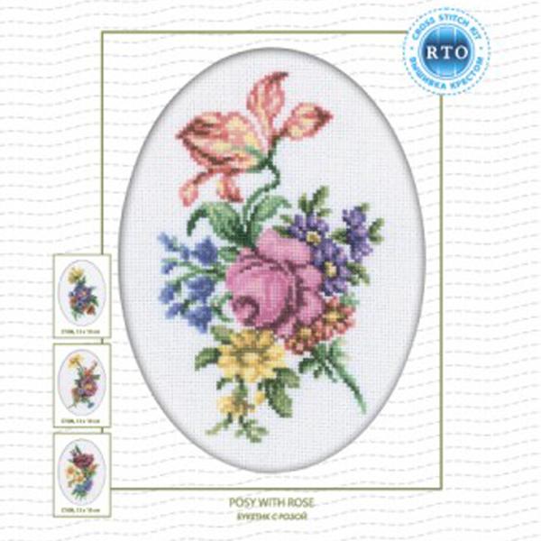 Набор для вышивания RTO Букетик с розой, 13 см х 18 см. C107C107Мулине на карте, разобранное по цветам, канва, символьная схема, игла, инструкция