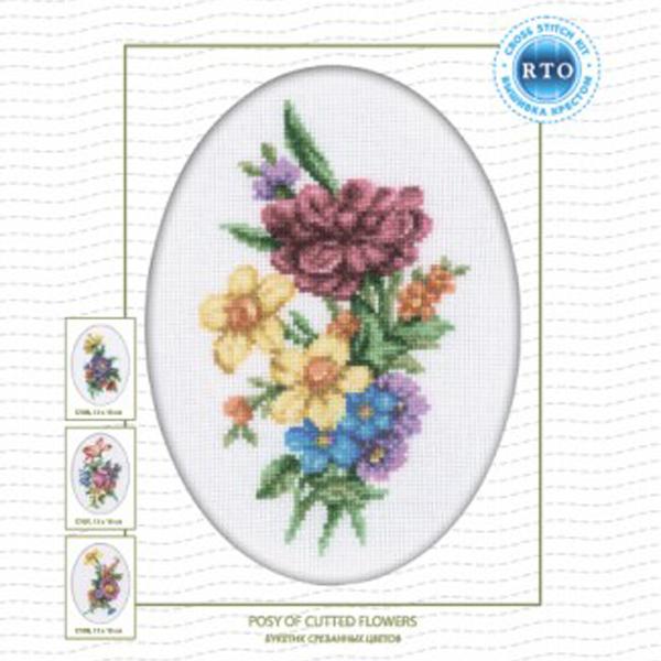 Набор для вышивания RTO Букетик срезанных цветов, 13 см х 18 см. C109C109Мулине на карте, разобранное по цветам, канва, символьная схема, игла, инструкция