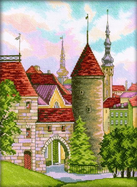 Набор для вышивания RTO Старый Таллин, 22 см х 30 см. M201M201Мулине на карте, разобранное по цветам, канва, символьная схема, игла, инструкция