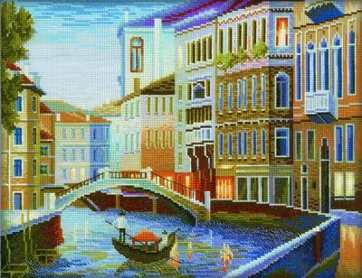 Набор для вышивания RTO Вечер в Венеции, 35 см х 27 см. M199M199Мулине на карте, разобранное по цветам, канва, символьная схема, игла, инструкция