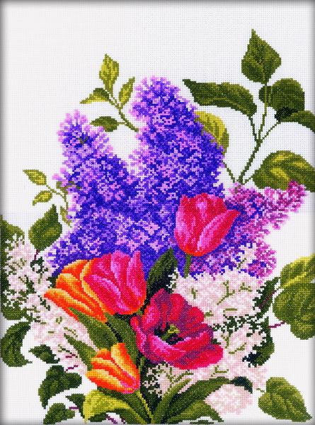 Набор для вышивания RTO Сирень и тюльпаны, 30 см х 40 см. M205M205Мулине на карте, разобранное по цветам, канва, символьная схема, игла, инструкция