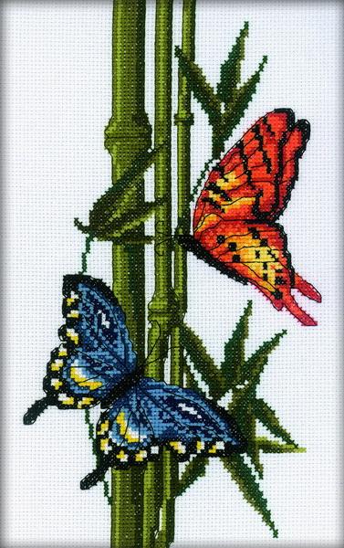 Набор для вышивания RTO Бабочки и бамбук, 13 см х 26 см. M207M207Мулине на карте, разобранное по цветам, канва, символьная схема, игла, инструкция