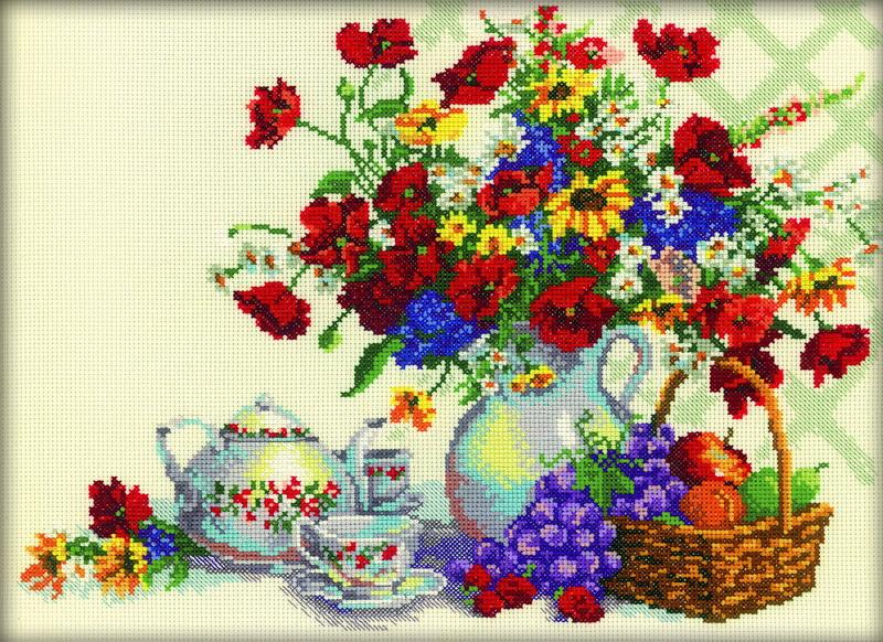 Набор для вышивания RTO Чаепитие в саду, 35 см х 26 см. M216M216Мулине на карте, разобранное по цветам, канва, символьная схема, игла, инструкция