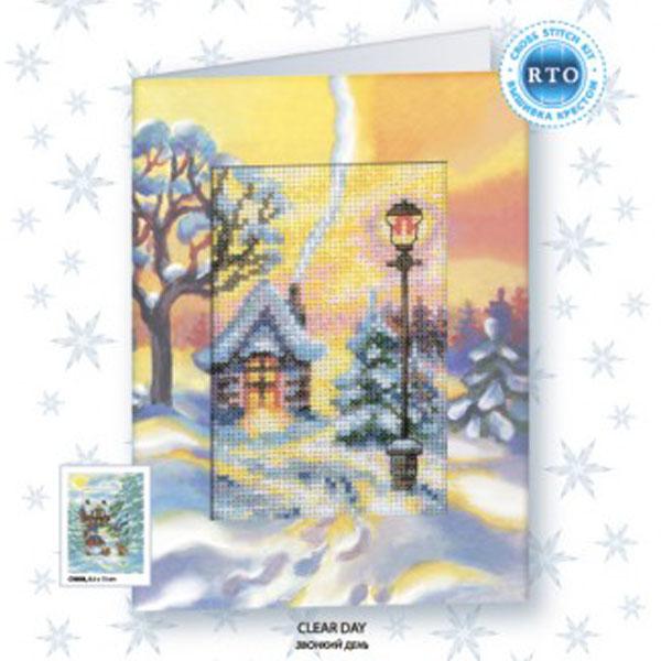 Набор для вышивания RTO Открытка - Зимний закат, 8,5 см х 13 см. CH807CH807Мулине на карте, разобранное по цветам, канва, символьная схема, игла, инструкция, открытка-паспарту
