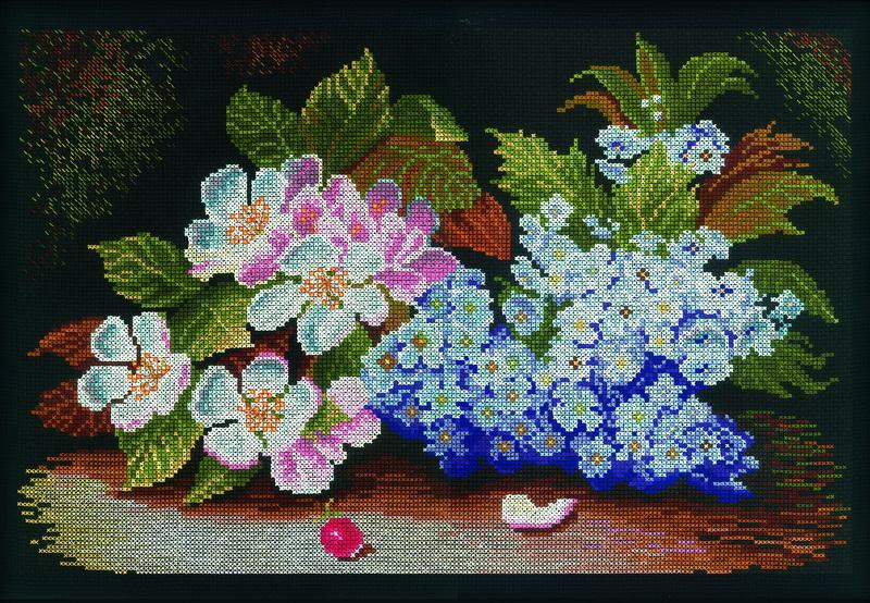 Набор для вышивания RTO Цветы яблони и сирени, 37,5 см х 26 см. M231M231Мулине на карте, разобранное по цветам, канва, символьная схема, игла, инструкция