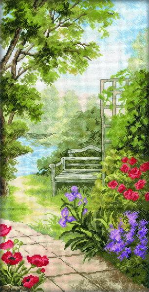 Набор для вышивания RTO Садовая скамейка, 24 см х 47 см. M234M234Мулине на карте, разобранное по цветам, канва, символьная схема, игла, инструкция