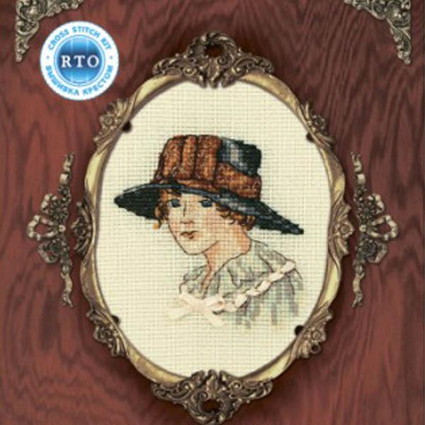 Набор для вышивания RTO Женский образ, 9 см х 11,5 см. EH301EH301Мулине на карте, разобранное по цветам, канва, символьная схема, игла, инструкция