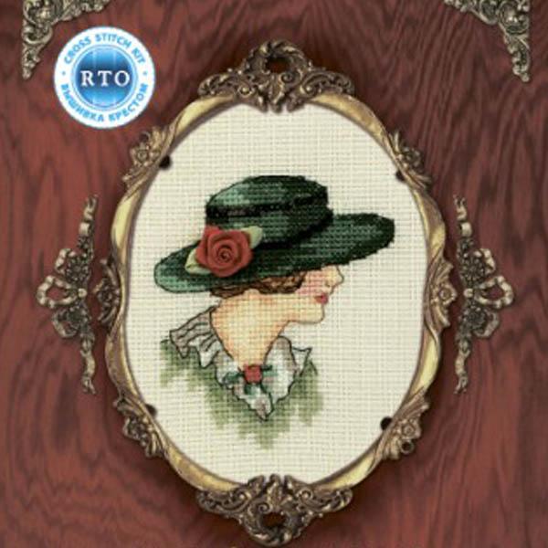 Набор для вышивания RTO Женский образ, 9 см х 11,5 см. EH302EH302Мулине на карте, разобранное по цветам, канва, символьная схема, игла, инструкция