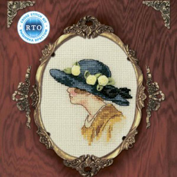 Набор для вышивания RTO Женский образ, 9 см х 11,5 см. EH303EH303Мулине на карте, разобранное по цветам, канва, символьная схема, игла, инструкция