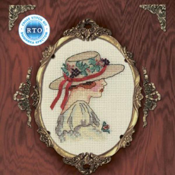 Набор для вышивания RTO Женский образ, 9 см х 11,5 см. EH304EH304Мулине на карте, разобранное по цветам, канва, символьная схема, игла, инструкция