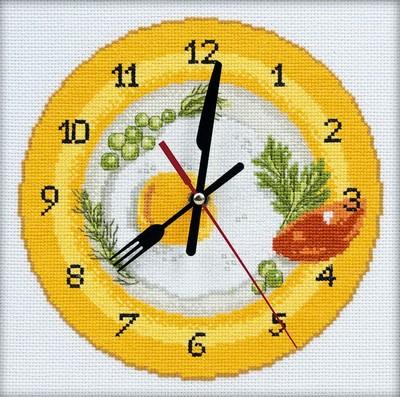 Набор для вышивания RTO Время завтракать, 20 см х 20 см. M40009M40009Мулине на карте, разобранное по цветам, канва, символьная схема, игла, инструкция, часовой механизм со стрелками