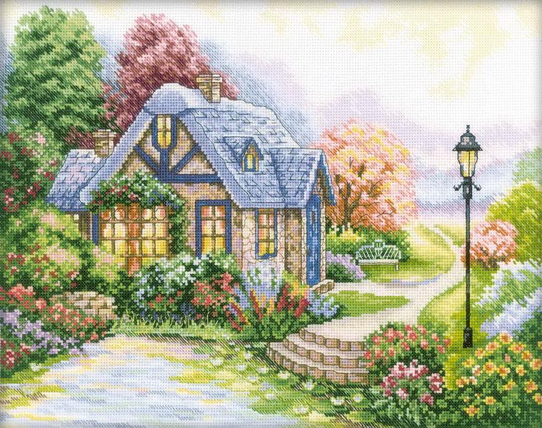 Набор для вышивания RTO Дом, милый дом, 34 см х 27 см. M247M247Мулине на карте, разобранное по цветам, канва, символьная схема, игла, инструкция