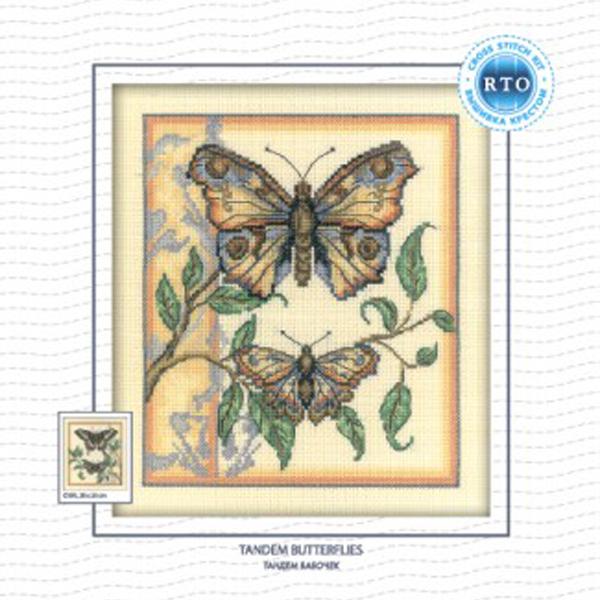 Набор для вышивания RTO Тандем бабочек, 20 см х 23 см. C130C130Мулине на карте, разобранное по цветам, канва, символьная схема, игла, инструкция
