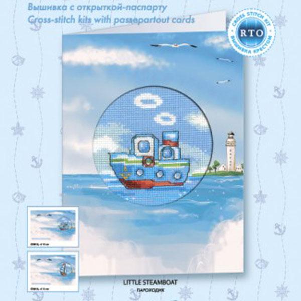 Набор для вышивания RTO Параходик, 10 см х 10 см. CH812CH812Мулине на карте, разобранное по цветам, канва, символьная схема, игла, инструкция, открытка-паспарту