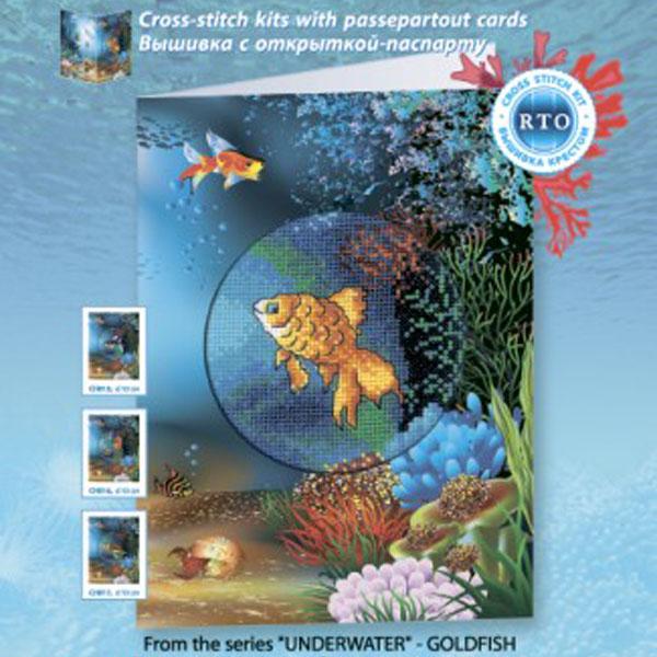 Набор для вышивания RTO Подводный мир Золотая рыбка, 10 см х 10 см. CH814CH814Мулине на карте, разобранное по цветам, канва, символьная схема, игла, инструкция, открытка-паспарту