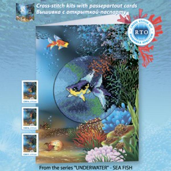 Набор для вышивания RTO Подводный мир Морская рыбка, 10 см х 10 см. CH815CH815Мулине на карте, разобранное по цветам, канва, символьная схема, игла, инструкция, открытка-паспарту