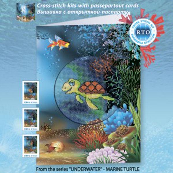 Набор для вышивания RTO Подводный мир Черепашка, 10 см х 10 см. CH817CH817Мулине на карте, разобранное по цветам, канва, символьная схема, игла, инструкция, открытка-паспарту
