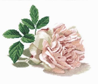 Набор для вышивания RTO Роза, 29 см х 25 см. M297M297Мулине на карте, разобранное по цветам, канва, символьная схема, игла, инструкция