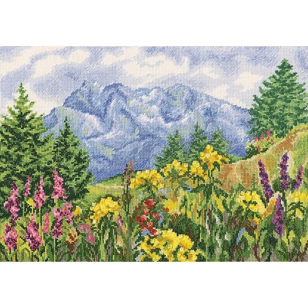 Набор для вышивания RTO Горная поляна, 39 см х 28 см. M302M302Мулине на карте, разобранное по цветам, канва, символьная схема, игла, инструкция