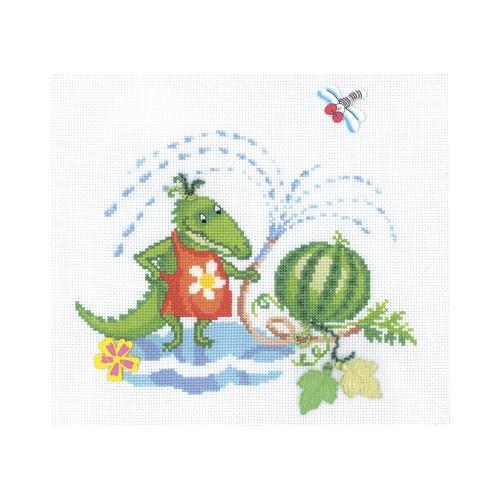 Набор для вышивания RTO Крококо, 25 см х 22 см. M316M316Мулине на карте, разобранное по цветам, канва, символьная схема, игла, инструкция