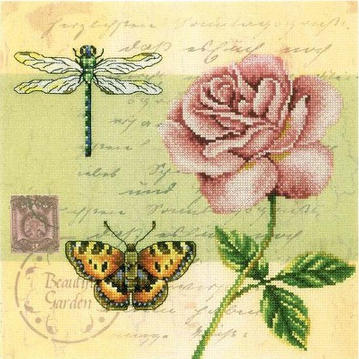 Набор для вышивания RTO Почтовая открытка - Роза, 25 см х 25 см. M70016M70016Мулине на карте, разобранное по цветам, канва с нанесенным рисунком, символьная схема, игла, инструкция