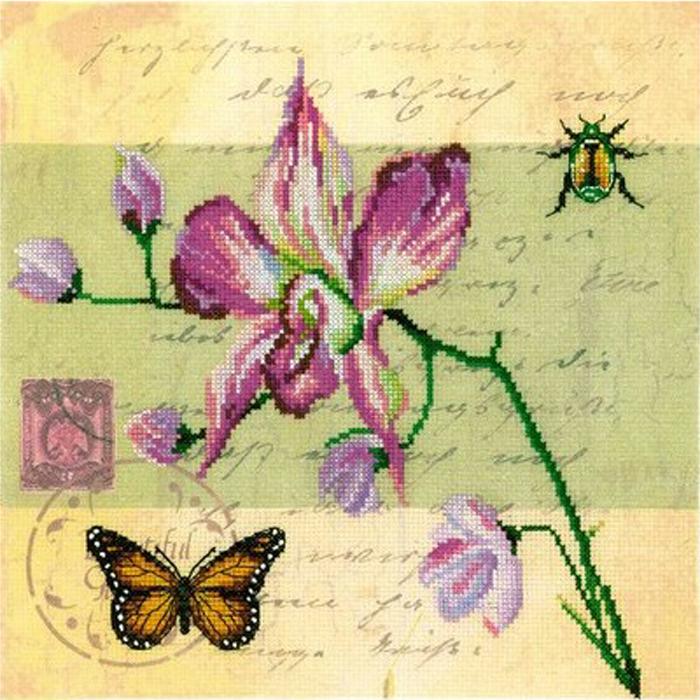 Набор для вышивания RTO Почтовая открытка - Орхидея, 25 см х 25 см. M70017M70017Мулине на карте, разобранное по цветам, канва с нанесенным рисунком, символьная схема, игла, инструкция
