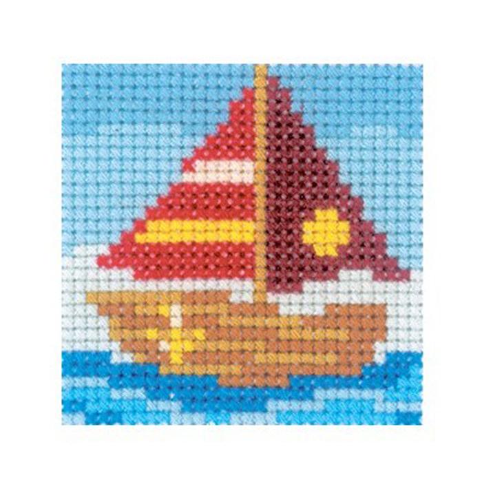 Набор для вышивания RTO Кораблик, 5 см х 5 см. MH534MH534Мулине, канва, цветная схема, игла, инструкция