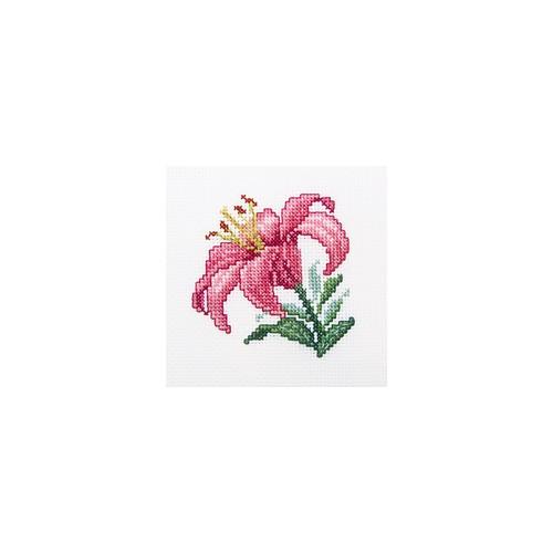Набор для вышивания RTO Розовая лилия, 10 см х 10 см. H247H247Мулине, канва, символьная схема, игла, инструкция