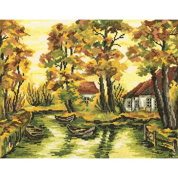Набор для вышивания RTO Осенняя палитра, 35 см х 27 см. M349M349Мулине на карте, разобранное по цветам, канва, символьная схема, игла, инструкция
