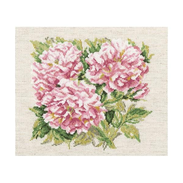 Набор для вышивания RTO Кустовые розы, 23 см х 22 см. M374M374Мулине на карте, разобранное по цветам, канва, символьная схема, игла, инструкция