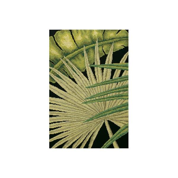 Набор для вышивания RTO Пальмовые листья - 2, 30 см х 45 см. M447M447Мулине на карте, разобранное по цветам, канва, символьная схема, игла, инструкция
