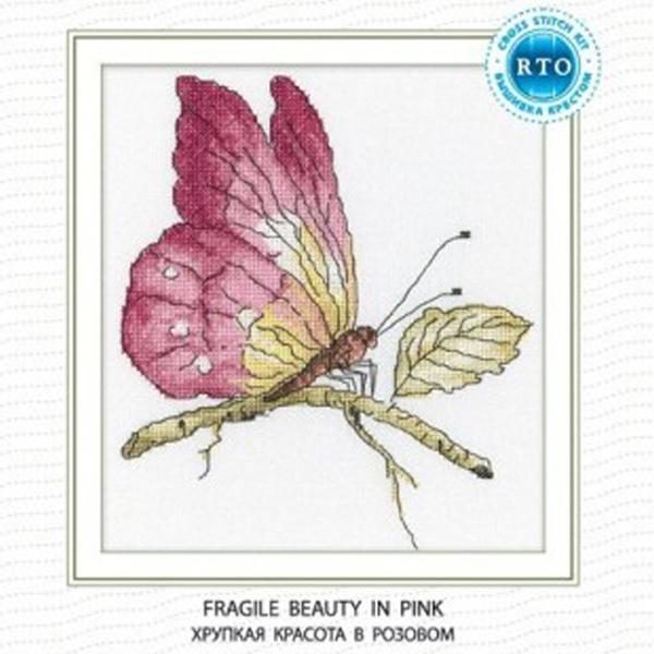 Набор для вышивания RTO Хрупкая красота в розовом, 19 см х 19 см. C174C174Мулине на карте, разобранное по цветам, канва, символьная схема, игла, инструкция
