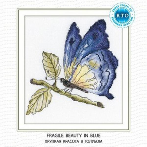 Набор для вышивания RTO Хрупкая красота в голубом, 19 см х 19 см. C175C175Мулине на карте, разобранное по цветам, канва, символьная схема, игла, инструкция