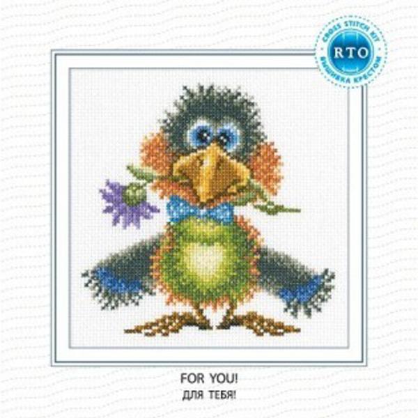 Набор для вышивания RTO Для тебя!, 14 см х 14 см. C199C199Мулине на карте, разобранное по цветам, канва, символьная схема, игла, инструкция