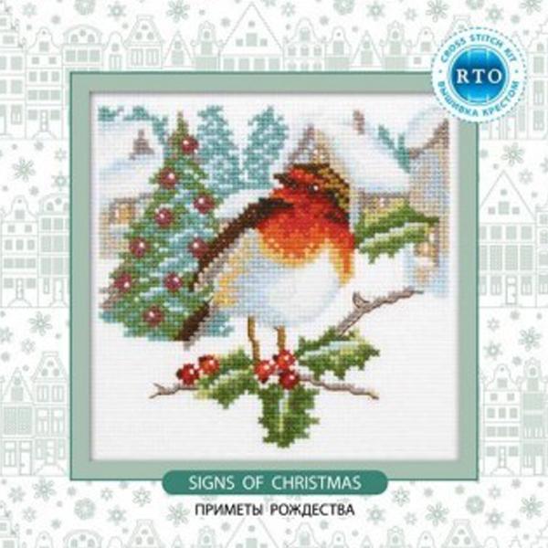 Набор для вышивания RTO Приметы рождества, 14 см х 14 см. C203C203Мулине на карте, разобранное по цветам, канва, символьная схема, игла, инструкция