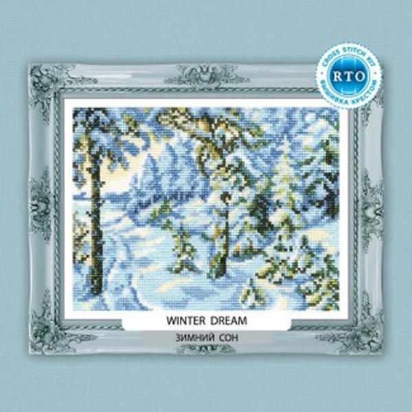 Набор для вышивания RTO Зимний сон, 18 см х 14 см. C210C210Мулине на карте, разобранное по цветам, канва, символьная схема, игла, инструкция