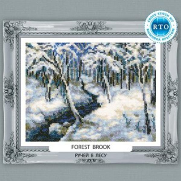 Набор для вышивания RTO Ручей в лесу, 18 см х 14 см. C212C212Мулине на карте, разобранное по цветам, канва, символьная схема, игла, инструкция