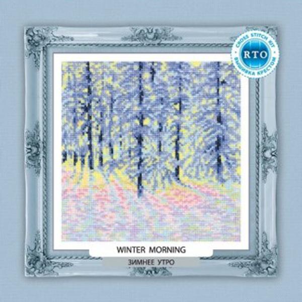 Набор для вышивания RTO Зимнее утро, 18 см х 18 см. C213C213Мулине на карте, разобранное по цветам, канва, символьная схема, игла, инструкция