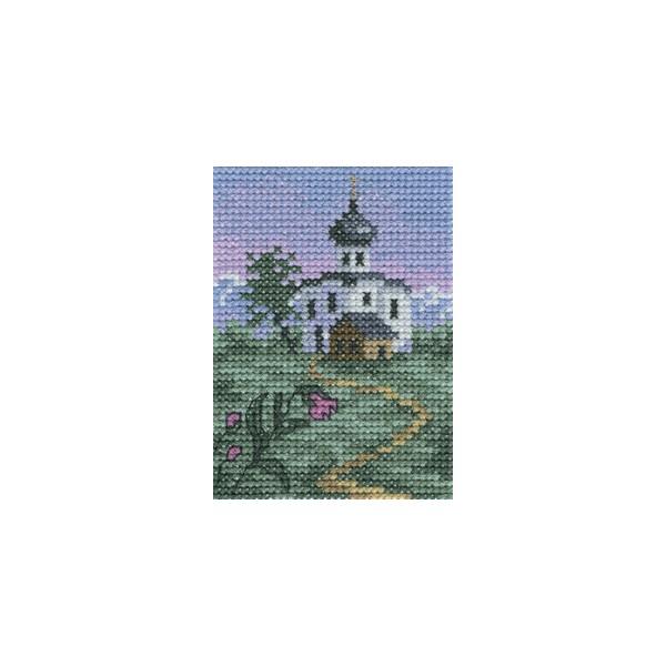Набор для вышивания RTO крестом По тропинке к храму, 6 см х 9 см. H268H268Мулине, канва, символьная схема, игла, инструкция