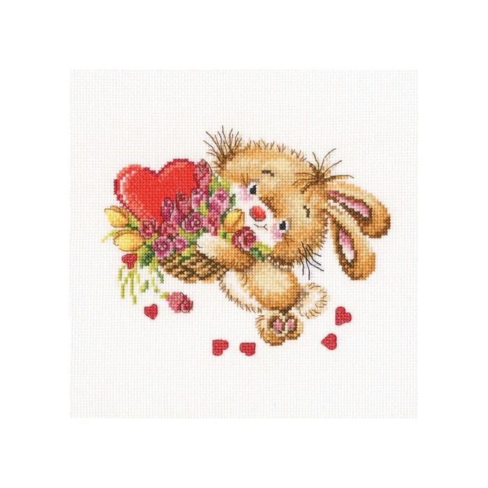 Набор для вышивания RTO Тебе мое сердечко, 17,5 см х 14 см. С222С222Мулине на карте, разобранное по цветам, канва, символьная схема, игла, инструкция