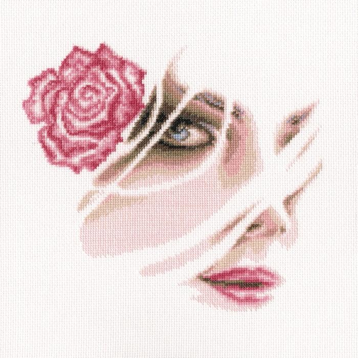 Набор для вышивания RTO Коралловая роза, 22,5 см х 20,5 см. M567M567Мулине на карте, разобранное по цветам, канва, символьная схема, игла, инструкция