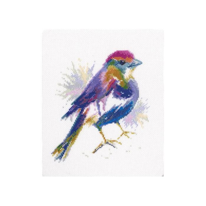 Набор для вышивания RTO Синее перышко, 14,5 см х 17 см. M571M571Мулине на карте, разобранное по цветам, канва, символьная схема, игла, инструкция