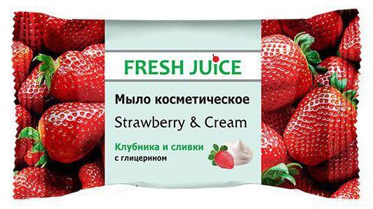 Fresh Juice мыло косметическое Strawberry & Cream, 75 г8588006034325Эффективное очищение и смягчение кожи рук, созданного на основе соковых концентратов и пищевых вкусо-ароматических добавок. Косметическое мыло с ароматом Клубника и сливки эффективно очищает кожу. Содержит глицерин и экстракт клубники.